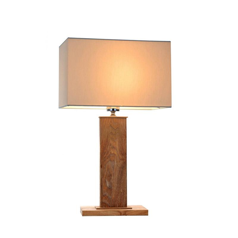 Dion Table Lamp   Wood and Creamy White Fabric - Oz Lights Direct