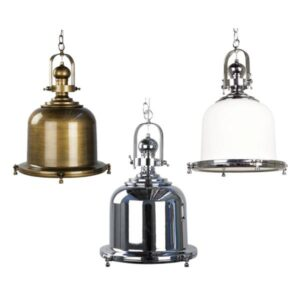 Gaia Classic Pendant Light | Antique Brass, Chrome and White Glass Chrome - Oz Lights Direct